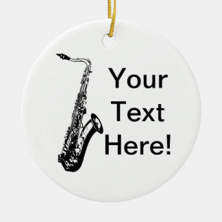Personalized Saxophone Double-Sided Ceramic Round Christmas Ornament