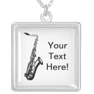 Personalized Saxophone Square Pendant Necklace