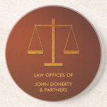 Personalized Scales of Justice | Elegant Sandstone Coaster