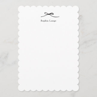 Personalized Scallop Edge Note Card with Bow