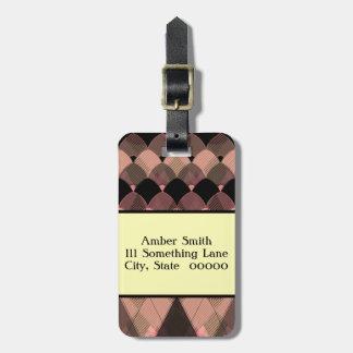 Personalized Scalloped Argyle Pattern Luggage Tag