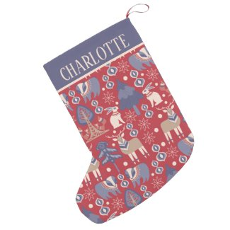 Personalized Scandinavian Pattern Nordic (2 sided) Small Christmas Stocking