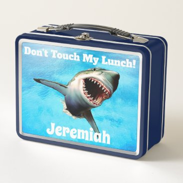 Beach Themed Personalized Scary Shark Teeth Metal Lunch Box