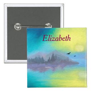 Personalized Scenic Mountain Lake Landscape Pinback Button