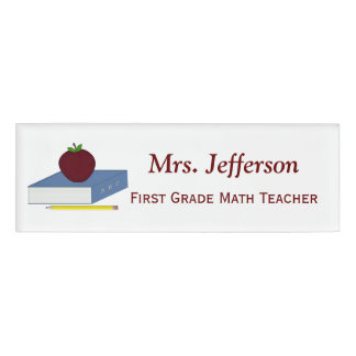 Personalized School Book Teachers Nametag Name Tag