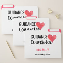 Personalized School Guidance Counselor Heart File Folder
