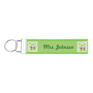 Personalized school librarian wrist keychain