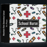 """Personalized School Nurse Pretty Typography Notes 3 Ring Binder<br><div class=""""desc"""">Personalized School Nurse Colorful Medical Pattern 3 Ring Binder for School Notes. Spine has black background and can be personalized with school, name or other information. Text reads SCHOOL NURSE on white background with pattern of red medical first aid symbol, band-aid, medicine and stethoscope. Fun gift for your favorite school...</div>"""