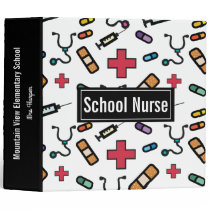 Personalized School Nurse Pretty Typography Notes 3 Ring Binder