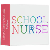 Personalized School Nurse Pretty Typography Notes Binder