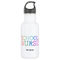 Personalized School Nurse Rainbow Typography Water Bottle