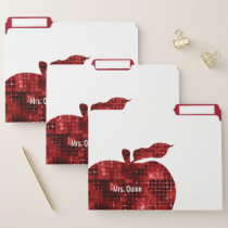 Personalized School Teacher Faux Sequin Apple File Folder