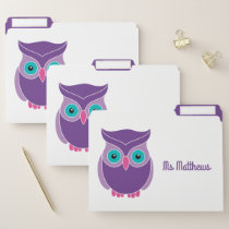 Personalized School Teacher Purple Owl Animal File Folder