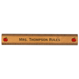Personalized school teacher ruler with red apples