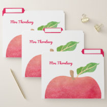Personalized School Teacher Watercolor Apple File Folder