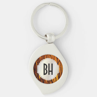Personalized Scorched and Burning Tree Branches Silver-Colored Swirl Metal Keychain