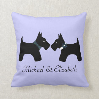 Personalized Scottie Dogs Couple (Reversible) Throw Pillow