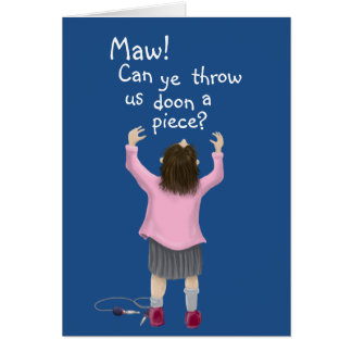 Personalized. Scottish 'jeely piece' kid Card