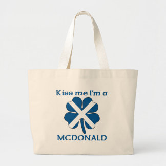 Personalized Scottish Kiss Me I'm Mcdonald Canvas Bags