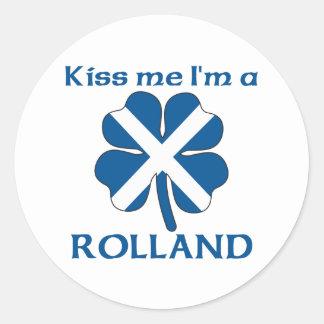 Personalized Scottish Kiss Me I'm Rolland Classic Round Sticker