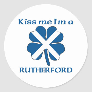 Personalized Scottish Kiss Me I'm Rutherford Classic Round Sticker