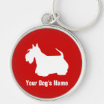 Personalized Scottish Terrier スコティッシュ・テリア Silver-Colored Round Keychain