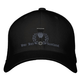 Personalized Scottish Thistle Scotland in Black Embroidered Baseball Cap