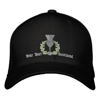 Personalized Scottish Thistle Scotland in silver Embroidered Baseball Cap
