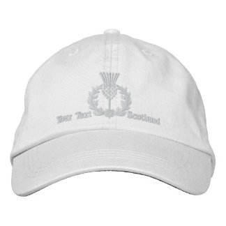 Personalized Scottish Thistle Scotland in white Embroidered Baseball Cap