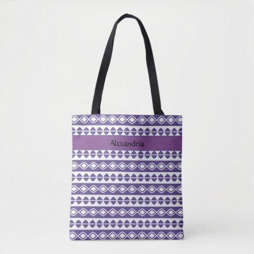 Personalized Script on Purple  White Pattern Tote Bag