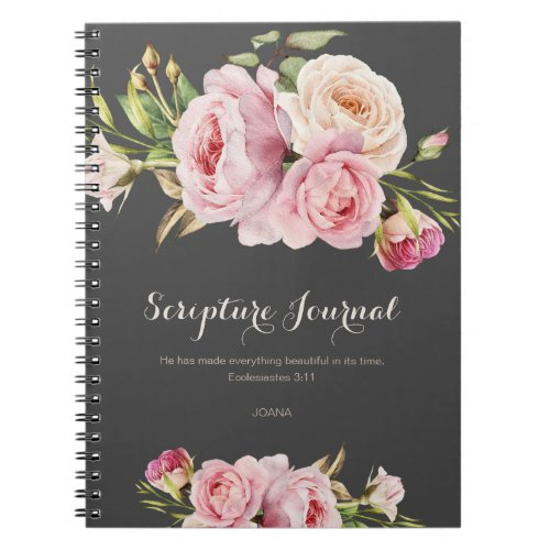 Personalized Scripture Journal Watercolor Flowers