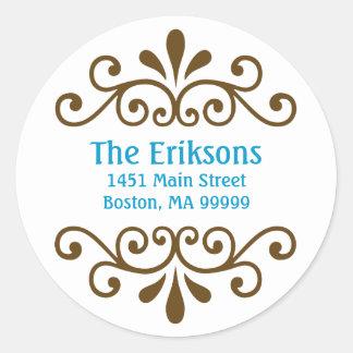 Personalized Scroll Address Labels in Aqua Classic Round Sticker