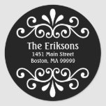 Personalized Scroll Address Labels in Black Classic Round Sticker