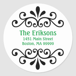 Personalized Scroll Address Labels in Green Classic Round Sticker