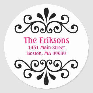 Personalized Scroll Address Labels Classic Round Sticker