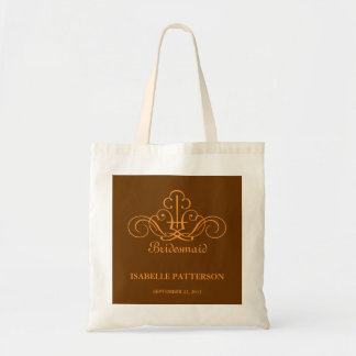 Personalized Scrolls Wedding Party Bag in Orange