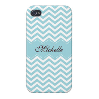 Personalized sea blue zigzag chevron pattern iPhone 4 cases