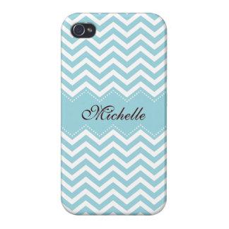 Personalized sea blue zigzag chevron pattern iPhone 4 cover