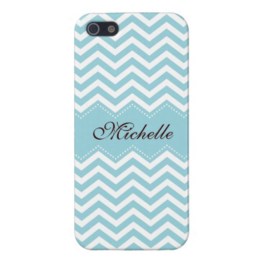 Personalized sea blue zigzag chevron pattern covers for iPhone 5