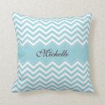 Personalized sea blue zigzag chevron pattern throw pillows
