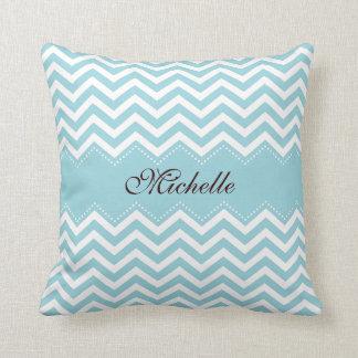 Personalized sea blue zigzag chevron pattern throw pillow