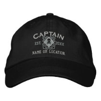 Personalized Sea Captain Nautical Crossbones Skull Embroidered Baseball Hat