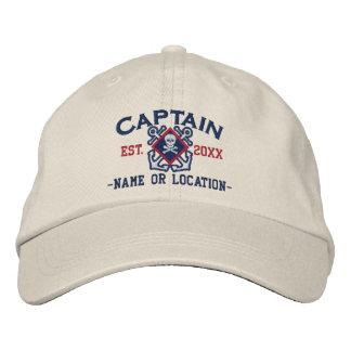 Personalized Sea Captain Nautical Crossbones Skull Embroidered Baseball Caps