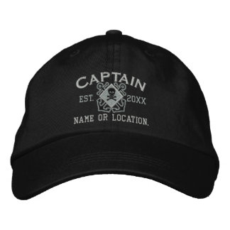 Personalized Sea Captain Nautical Crossbones Skull Embroidered Hats
