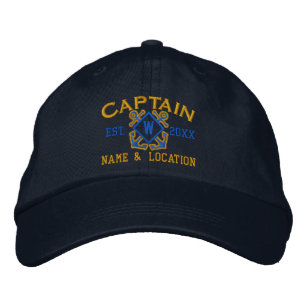 7d01689962b3d Personalized Sea Captain Nautical Monogram   more Embroidered Baseball Cap