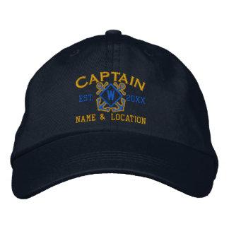 Personalized Sea Captain Nautical Monogram & more Embroidered Baseball Cap
