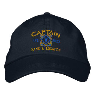 Personalized Sea Captain Nautical Monogram & more Embroidered Baseball Cap