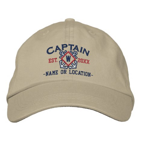 Personalized Sea Captain Nautical Monogram & more Embroidered Baseball Hat