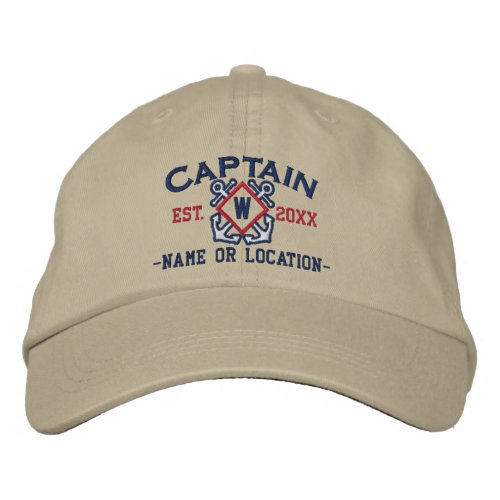 Personalized Sea Captain Nautical Monogram  more Embroidered Baseball Hat
