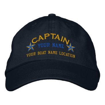 CaptainShoppe Personalized Sea Captain Stars Ball Cap Embroidery